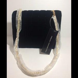 FRENCH CONNECTION Black Velvet Chain Crossbody Bag